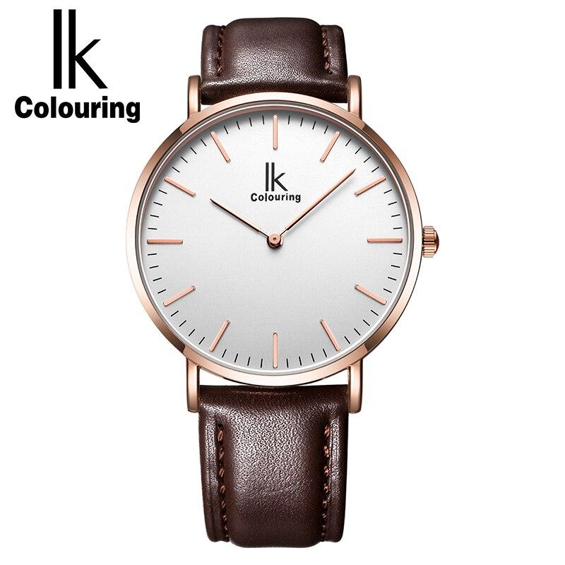 ФОТО IK Colouring Ultra Thin Men Watches Luxury Genuine Leather Strap Fashion Casual Business Quartz Watch Men Relogio Masculino
