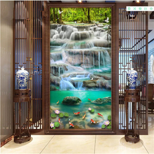 цена на beibehang 3d wallpaper Classic decorative painting three-dimensional realistic waterfall carp lotus porch background wall paper
