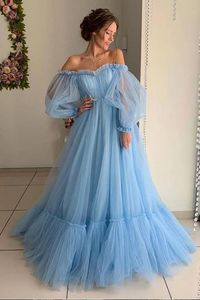 Image 2 - Blue 2019 Prom Dresses A Line Off the Shoulder Sweetheart Tulle Long Sleeves Prom Gown Evening Party Dresses Robe De Soiree