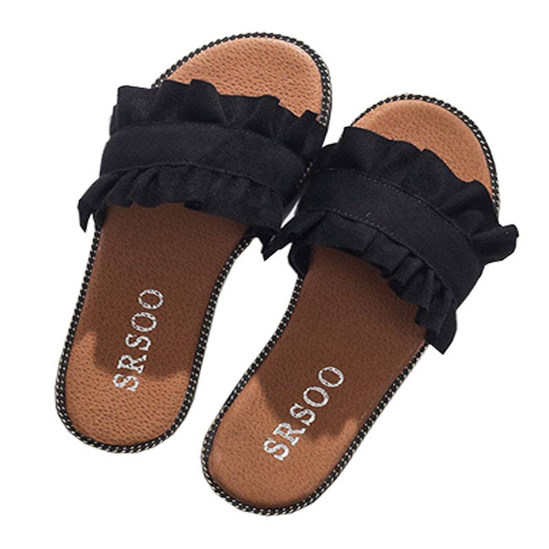 2018 New Summer Slippers Shoes Donna Ruffles Zoccoli Femme Sandali - Scarpe da donna