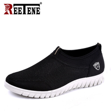 REETENE Canvas Casual Men Shoes Mesh Breathable Comfortable Men Shoes Loafers Soft Slip On Sneakers Shoes MenS Big Size 38 48