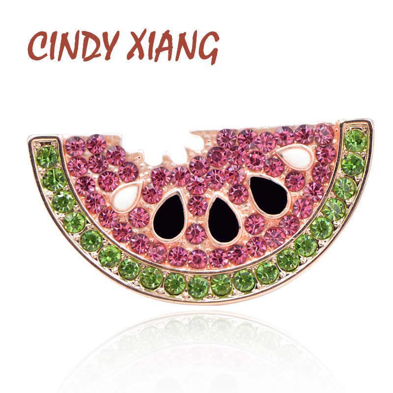Cindy xiang estilo verão strass melancia broches para as mulheres bonito broche de frutas pinos crianças mochila emblemas moda jóias