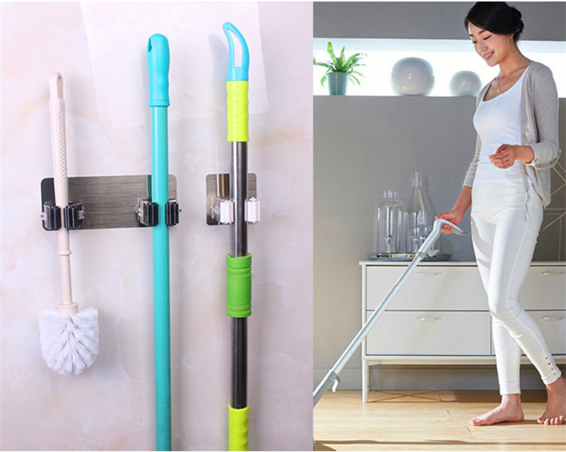 Yooap Broom Hanger 2 Hanging Hole Self Adhesive Plastic Wall Mounted Rack Seamless Mop Broom Holder in Bathroom Hooks from Home Garden