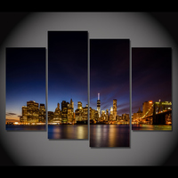 Framed Printed The Night Scenery Of The City Beautiful Painting Room Decoration Print Poster Picture Canvas