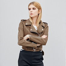 New 2018 Spring Autumn Women Suede Genuine Leather Jacket Fashion Zipper Matte Motorcycle Coat Female Biker Jackets Outerwear