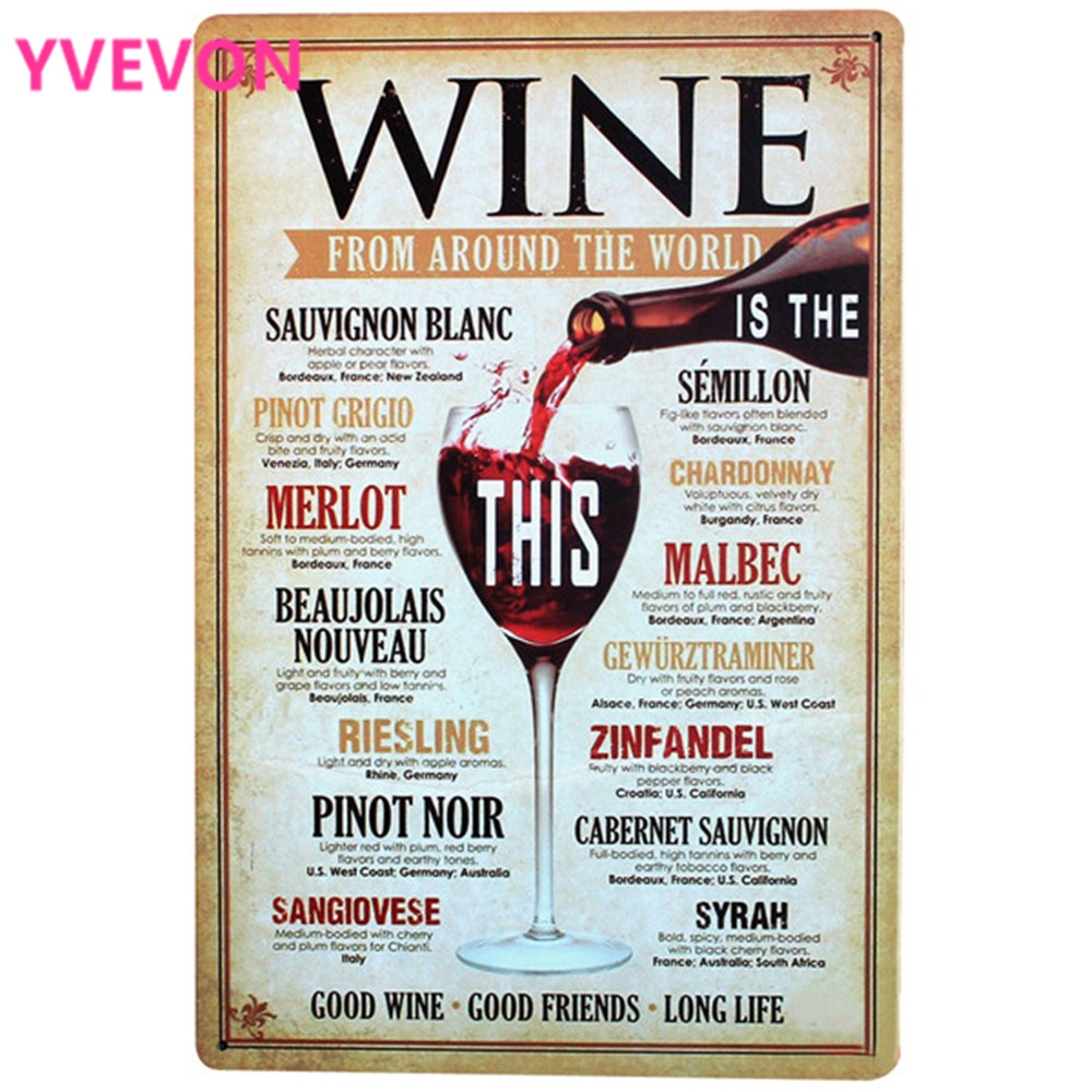 WINE AROUND THE WORLD Tin Red Wine Sign Retro Painting Plate for hotel lounge wedding party gift Metal decor 20x30cm