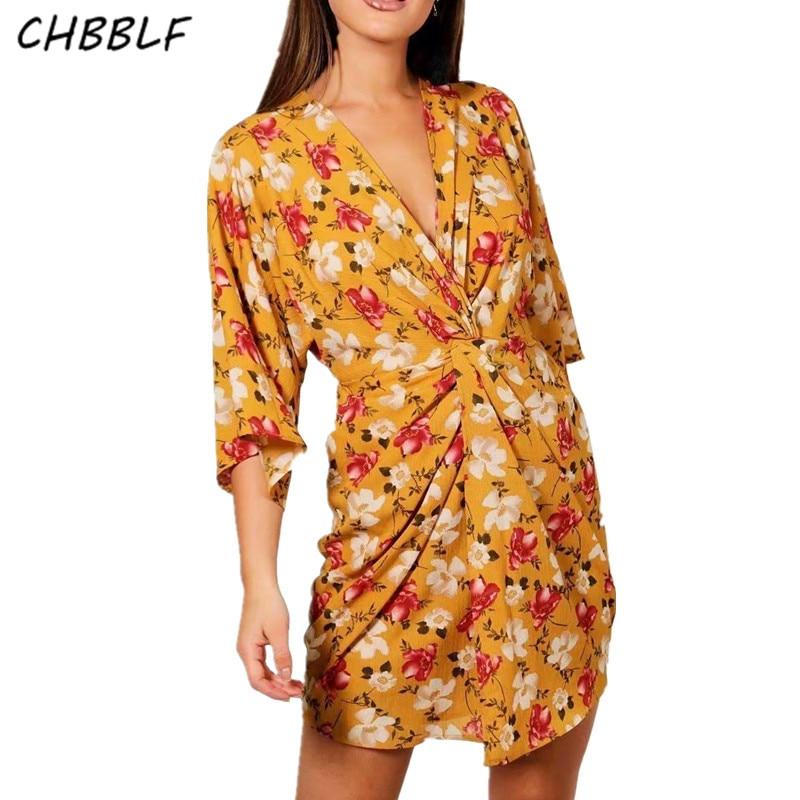 CHBBLF vintage floral dress kimono style chic ladies one piece dresses vestidos C8380