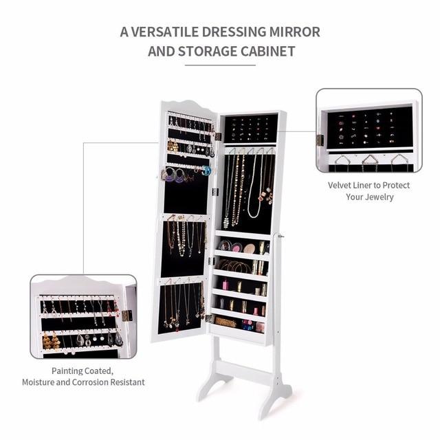 Mirrored Lockable Jewelry Cabinet 6