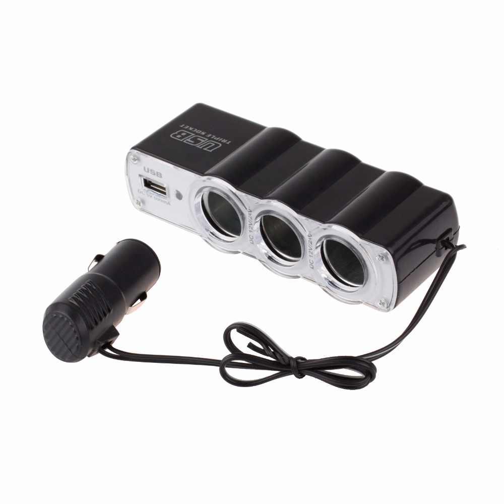 Onever 1-3 разветвитель автомобильного прикуривателя концентратор 12 В/24 В с usb-адаптером разветвитель концентратор с USB Автомобильное зарядное устройство для iPhone Xiaomi