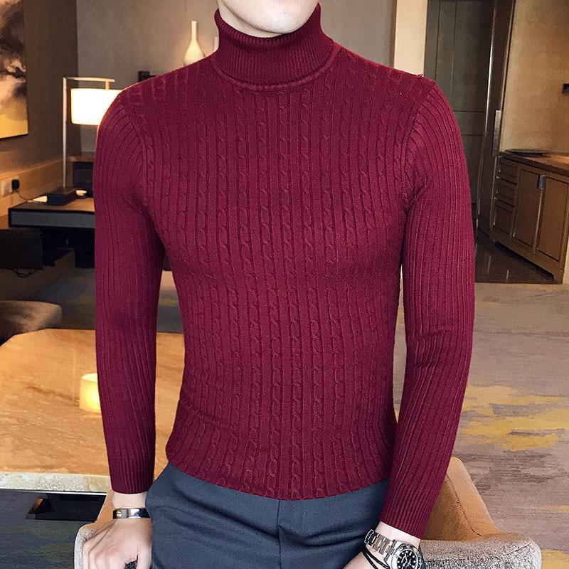 Зимний толстый теплый мужской свитер с высоким воротником, Брендовые мужские свитера с высоким воротником, облегающий пуловер, Мужская трикотажная одежда с двойным воротником - Цвет: 997 wine red