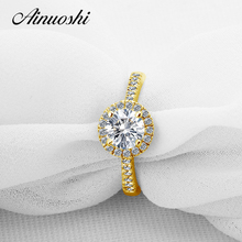 AINUOSHI 10K Yellow Gold Engagement Ring 1 CT Round Cut Halo Simulated Diamond Band for Women Wedding Lover Ring Fine Jewellry