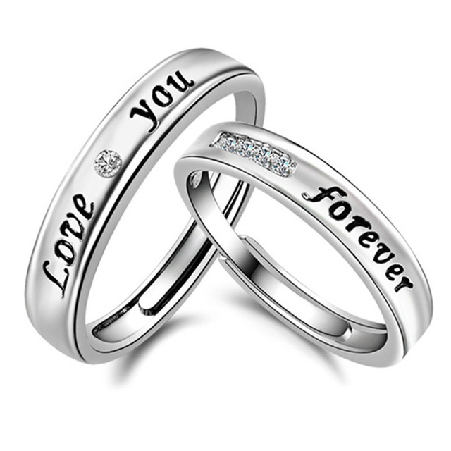 Fashion Silver Plated Love You Forever Rings For Women Men Clic Wedding Jewelry 2pcs