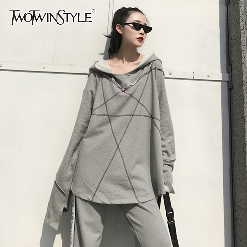 TWOTWINSTYLE Hoodies Female Sweatshirt For Women Top Oversize Batwing Long Sleeve Autumn Black Pullovers Tops Clothes