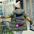 2016 winter jacket women military print parkas duck down loose fit coat medium pathchwork plus size overcoat snowear w-052
