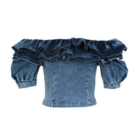SIPAIYA 2019 Fashion New Ruffle Denim Crop Tops Female Puff Sleeve Square Collar Sexy Shirt Jeans Blouse Women Summer