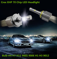 Top Auto Car Canbus No Error Copper Belt H4 H7 H8 H11 9005 9006 H1 H3 9012 LED Headlight Kit Cree xhp70 Chip LED 6000K 55W bulbs
