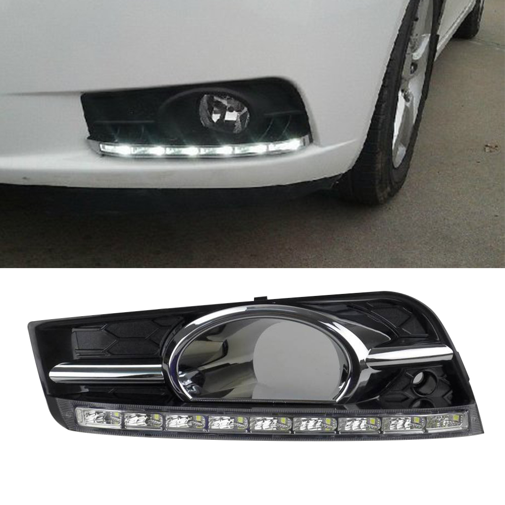 Car led drl kit for chevrolet cruze 2009 2013 daytime running light bar with fog