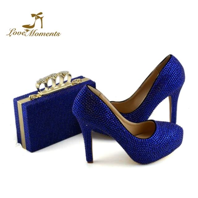 2019 Wedding shoes with matching bag set Royal Blue crystal Bride Payty  Dress shoes with Purse Adult Ceremony Pumps Plus Size 12 cf787a2e1b1d