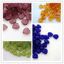 Heart Leaf 9MM 80Pcs Pack Mixed 4 Colors Glaze Czech Glass Crystal Bead Jewelry Loose