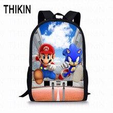 THIKIN Mario Sonic Kids Bags Children Backpack Animal Printing High School Bags for Girls Boys 16 Inch Knapsack Mochila цена