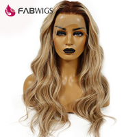 Fabwigs 150% Density T4/27/613 Blonde Full Lace Human Hair Wigs Brazilian Remy Ombre Highlights Human Hair Wigs with Baby Hair
