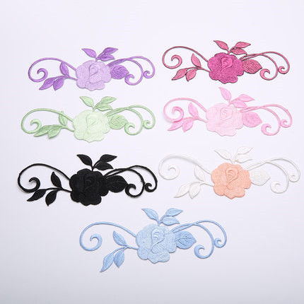 Clothing Fabric Patch Applique Make Up Holes Stick Embroidery Flower Queen  With Gum Manual DIY Accessories