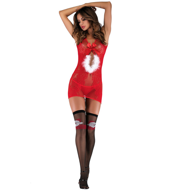 Novelty & Special Use Exotic Apparel Exotic Sets Lingerie Uniforms Christmas Costumes Nightclubs Red Jumpsuits Tight Suits 8533 6