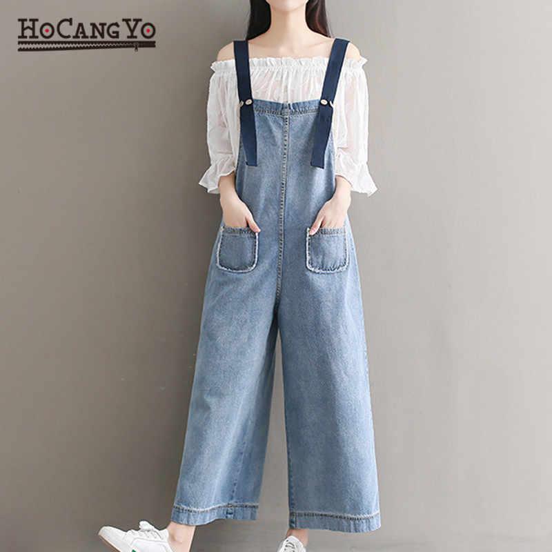 Комбинезоны, женские костюмы плюс размер 5XL Свободная Повседневная без рукавов комбинезон на бретелях широкие комбинезоны для женщин хлопковые джинсовые комбинезоны