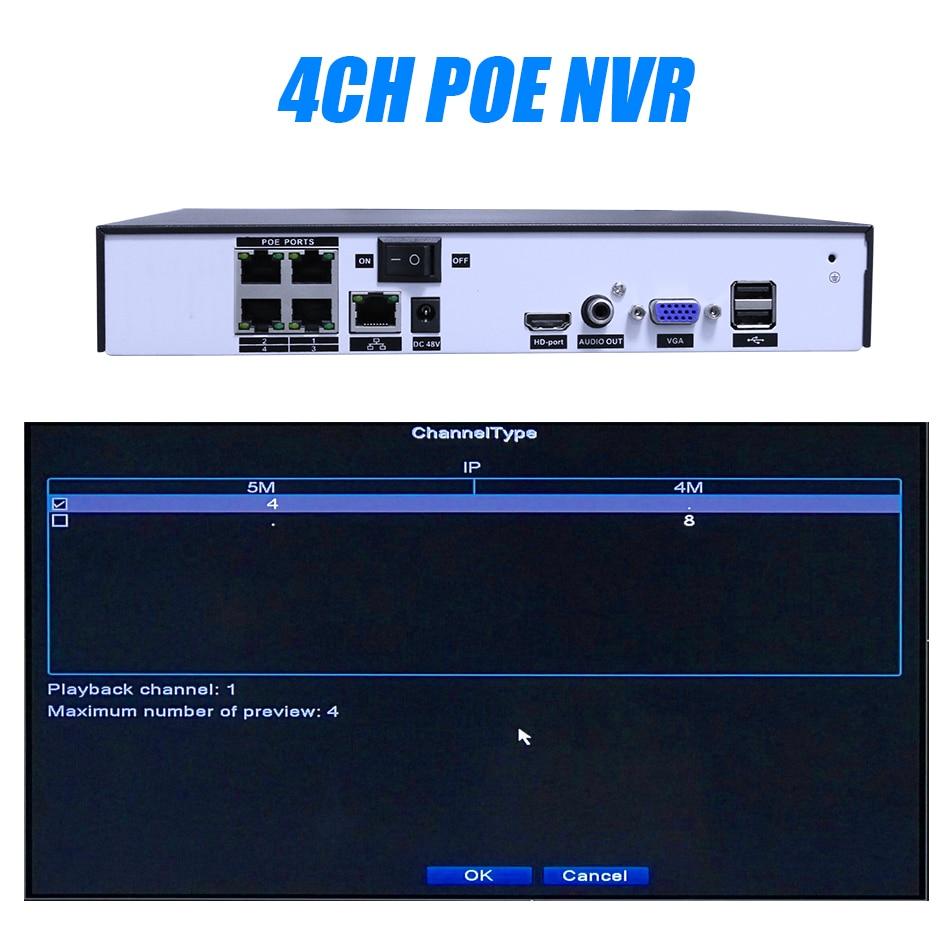 Hiseeu H.265 H.264 4/8CH POE NVR Security IP Camera video Surveillance CCTV System P2P ONVIF 2MP/5MP Network Video Recorder - 4
