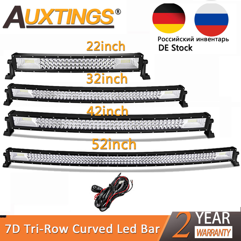 Auxtings 22 32 42 52inch Curved Led Light Bar Work Light 7D led bar 3-Row 4x4 Truck ATV Car Roof Offroad Driving EU RU stock