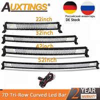"""Auxtings 22 """"32"""" 42 """"52"""" pulgadas curvada Barra de luz Led de luz de trabajo 7D led Bar 3 fila camión 4x4 ATV coche techo Offroad conducción EU RU stock"""