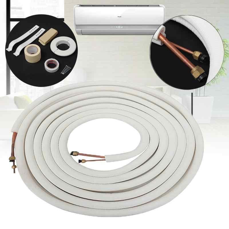 10 Meter Air Conditioner Pair Coil Tube 1/4'' 3/8'' Insulate Copper Aluminum Pipe Split Line Wire Home Air Conditioner Parts