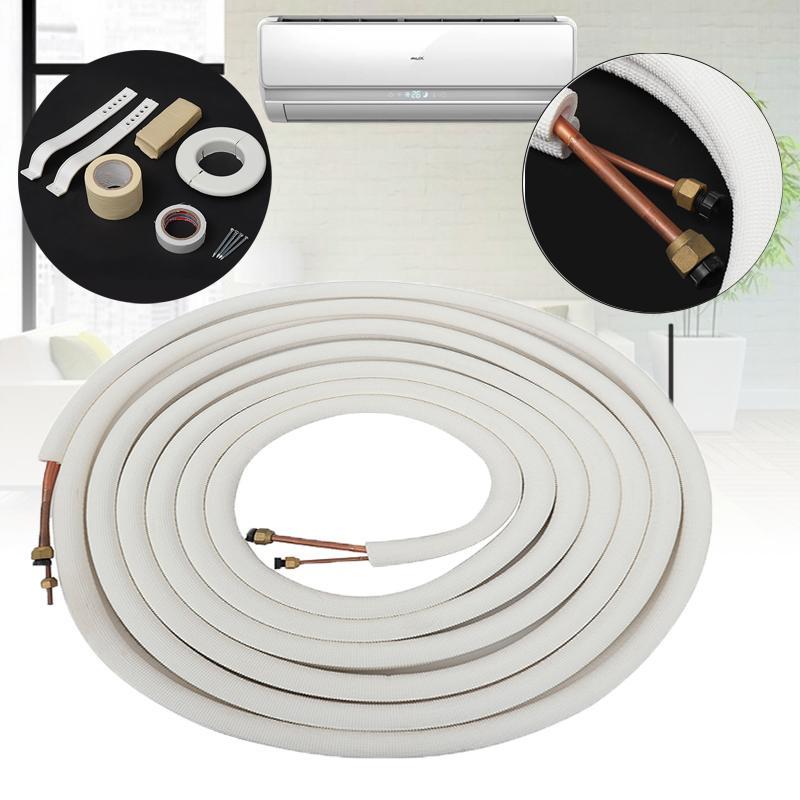 Par de tubos de bobina para aire acondicionado de 10 metros, 1/4 ''y 3/8'', aislante de cobre y aluminio, cable de línea dividida, piezas para aire acondicionado doméstico