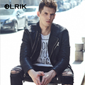 OLRIK 2016 Punk Style Casual Padded PU Leather Jacket M-3XL Brand Men Winter PU Outerwear Suede Leather Jacket