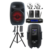 STARAUDIO 15 Inch 2500W Party PA Speaker Powered Active DJ Speaker Stand 2CH Wireless UHF Headset Lavalier Lapel Mic SCS 15RGB