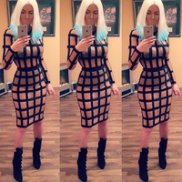 B*main Inspired Sheer Grid Meshmerizing Patchwork Long Sleeves Red Carpet Celebrity Party Luxe Bandage Dress