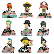 9 pcs/set Anime One Piece Q Ver Cake Chocolate Pirat PVC Action Figure Doll Collectible Model Toy Christmas Gift For Children [funny] original box 28cm game over watch azrael black death reaper ripper action figure collectible model doll toy kids gift