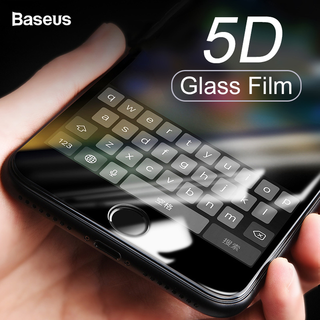 Baseus 5D Screen Protector Tempered Glass For iPhone 8 7 Plus Full Cover Protective Toughened Glass Film For iPhone 8plus 7plus