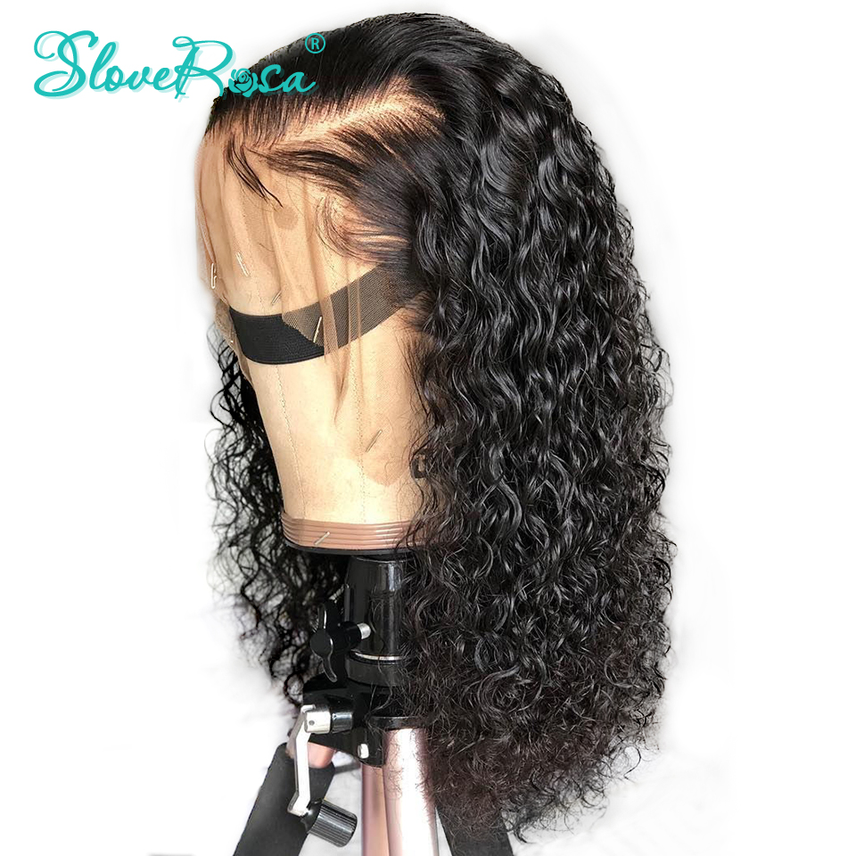 Curly Lace Front Human Hair Wigs For Black Women Glueless Thick End Brazilian Remy Hair Pre