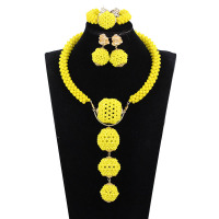 Cute Yellow Nigerian Wedding African Beads Jewelry Set Crystal Wedding African Beads Jewelry Set Free Shipping