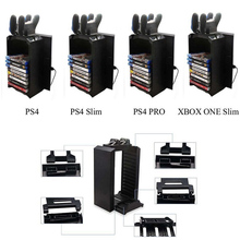 цена на Hot Sale Game Disk Tower Vertical Stand for PS4 DualShock Controller Charging Dock Station for PlayStation 4 PRO Slim NEW