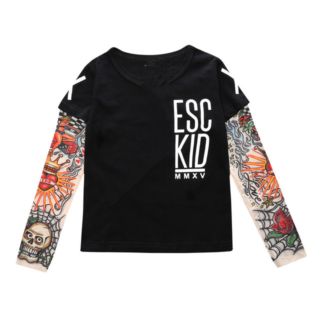 2018 Boy Clothes Cotton T-shirt Long Sleeve Children Tee Shirts Novelty Tattoo Sleeve Baby Girl Tops Spring&autumn KidsTop BB200