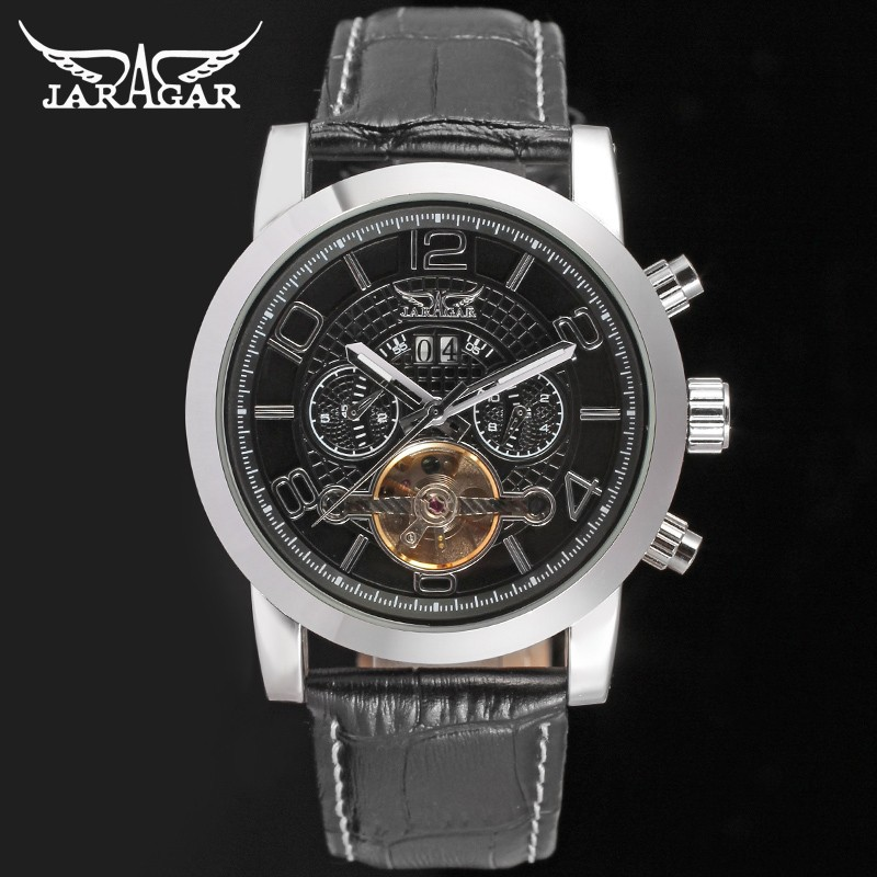 Подробнее о New Jargar Automatic Men Watch  Black Genuine Leather Strap Silver Colorwith Gift Box jargar jag6070m3s2 new men automatic fashion watch silver wristwatch for men with black leather strap best gift free ship