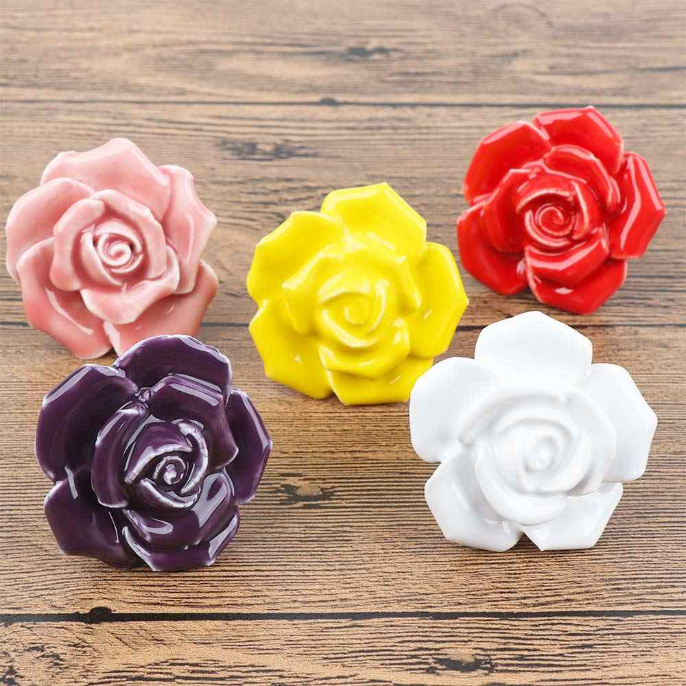 Ceramic Roses Flower Shape Handles for Furniture Door Knob Cabinets  Knobs and Handles Cupboard Drawer Pull Handle