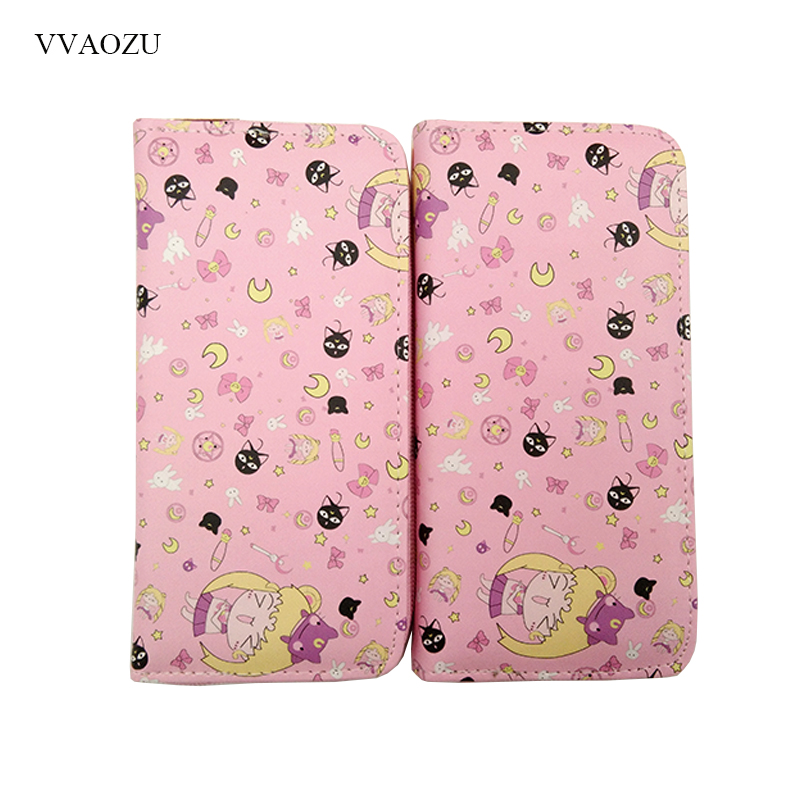 Cartoon Women Wallet Candy Color Sailor Moon Clutch Purse Girl Cardcaptor Card Captor Sakura Wallets Handbag Card Coin Bag