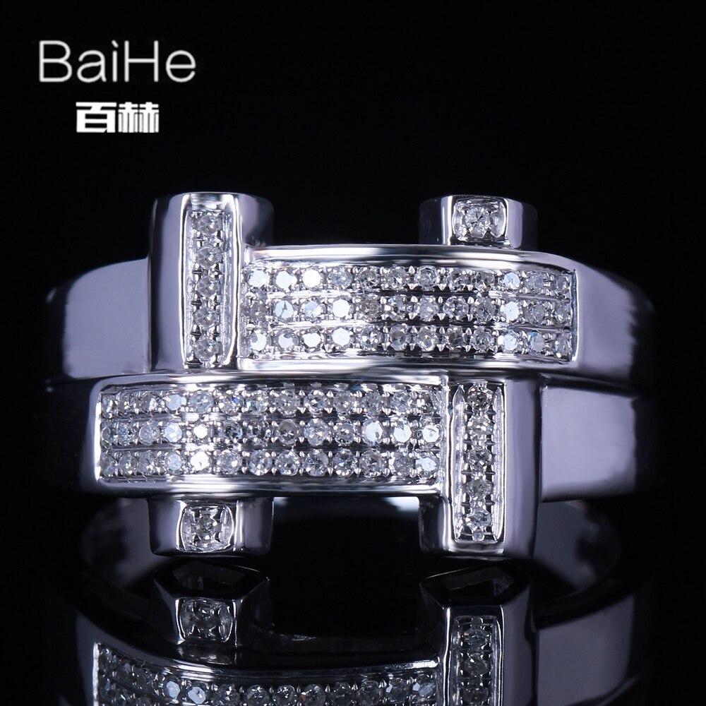BAIHE Стерлинговое Серебро 925 0.42CT Сертифицированный H/SI круглый огранка 100% натуральные бриллианты свадебные мужские классические ювелирные у