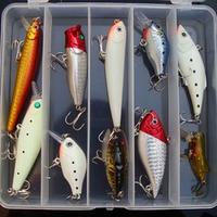 11 pcs/caixa Kit de leurre de pêche en eau douce Crank appâts Minnow VIB crayon artificielle dur leurres appâts 11 peças avec la boîte