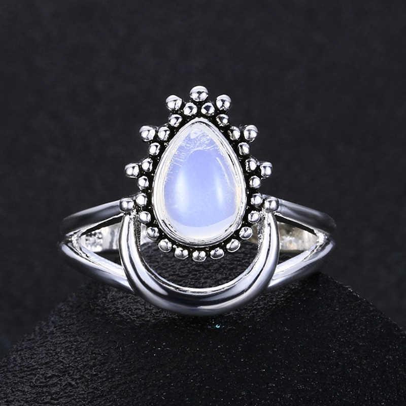 Charm โบราณขนาดใหญ่ยี่ห้อ Marquise มูนสโตนแหวน 925 แหวนเงิน Vintage Punk เครื่องประดับแหวนที่ไม่ซ้ำกันครบรอบของขวัญ