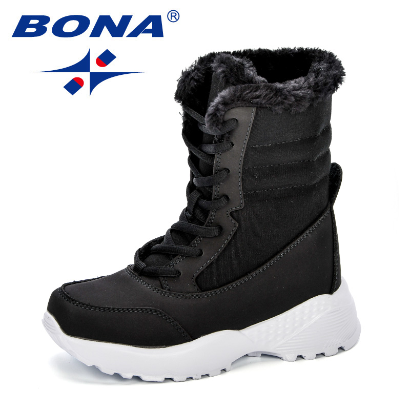 BONA Girls Snow Boots Children Shoes Winter Boots For Boys Sport Child Shoes Kids Sneakers 2018 Brand Fashion Mid-Calf Boots цена