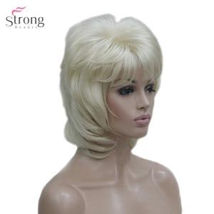 Image 4 - StrongBeauty delle Donne Parrucca Sintetica Breve Rettilineo Fluffy Naturale Dei Capelli Senza Cappuccio Parrucche Bleach Blonde #613